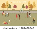 simple cartoon people at autumn ... | Shutterstock .eps vector #1181470342
