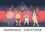 joyful family sitting in... | Shutterstock .eps vector #1181471818