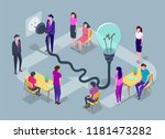 people work in a team and... | Shutterstock .eps vector #1181473282