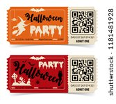 two halloween party tickets... | Shutterstock .eps vector #1181481928