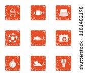sport commit icons set. grunge... | Shutterstock . vector #1181482198