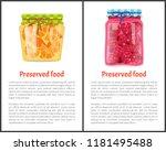 preserved food poster sliced... | Shutterstock .eps vector #1181495488