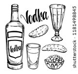 russian vodka. bottle  shot ... | Shutterstock .eps vector #1181498845