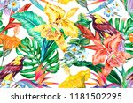 floral seamless vector tropical ... | Shutterstock .eps vector #1181502295