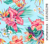 floral seamless vector tropical ... | Shutterstock .eps vector #1181502298