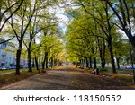 Pathway through the autumn park with benches - stock photo