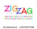 zigzag font stitched with... | Shutterstock .eps vector #1181507548