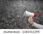woman holding megaphone on grey ... | Shutterstock . vector #1181511295