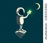 astronaut boy keeps a shining... | Shutterstock .eps vector #1181513302