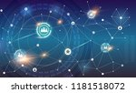social network on background of ... | Shutterstock .eps vector #1181518072