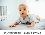 adorable baby boy having tummy... | Shutterstock . vector #1181519425