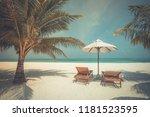 chairs on maldives beach  ... | Shutterstock . vector #1181523595