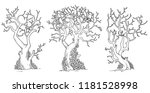 scary trees with twisted leaves ...   Shutterstock .eps vector #1181528998