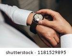 a stylish mechanical watch on... | Shutterstock . vector #1181529895