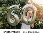 senior woman celebrating her... | Shutterstock . vector #1181531368