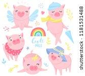 cute pink pigs vector set.... | Shutterstock .eps vector #1181531488