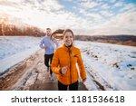 fitness couple winter morning... | Shutterstock . vector #1181536618