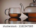 transparent glass teapot and... | Shutterstock . vector #1181547385