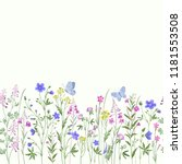 Stock vector seamless floral border with butterfly 1181553508