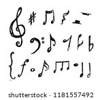 hand drawn music notes... | Shutterstock .eps vector #1181557492