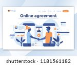 landing page template of online ... | Shutterstock .eps vector #1181561182