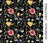 seamless floral pattern with... | Shutterstock . vector #1181570062