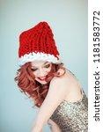 santas little helper. beautiful ...   Shutterstock . vector #1181583772