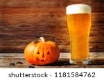 glass of cold light beer with... | Shutterstock . vector #1181584762