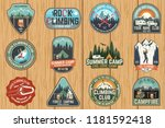 set of rock climbing club and... | Shutterstock .eps vector #1181592418