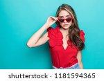 fashion model in sunglasses  ... | Shutterstock . vector #1181594365