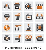 vector color movie icon set on...