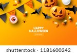 happy halloween holiday party... | Shutterstock .eps vector #1181600242
