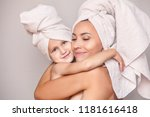 woman young adult with daughter ... | Shutterstock . vector #1181616418