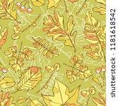 autumn leaves. seamless vector...   Shutterstock .eps vector #1181618542