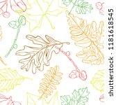 autumn leaves. seamless vector...   Shutterstock .eps vector #1181618545