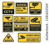 cctv warning sign set  video... | Shutterstock .eps vector #1181623105
