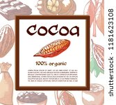 cocoa beans tree banner with... | Shutterstock .eps vector #1181623108