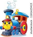 funny multicolored locomotive ... | Shutterstock .eps vector #1181625415
