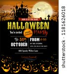 halloween party invitation with ... | Shutterstock .eps vector #1181626018