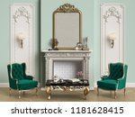 classic interior with decorated ... | Shutterstock . vector #1181628415