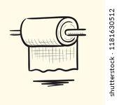 toilet paper. hand drawn vector ...   Shutterstock .eps vector #1181630512
