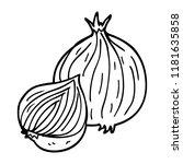 line drawing cartoon onion | Shutterstock . vector #1181635858