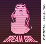 dream girl. vector hand drawn... | Shutterstock .eps vector #1181637508