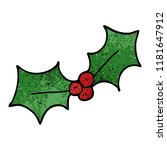 cartoon doodle xmas holly | Shutterstock . vector #1181647912