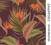 tropical floral vector seamless ... | Shutterstock .eps vector #1181669965