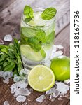 mojito cocktail on wooden... | Shutterstock . vector #118167736