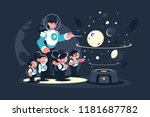 guide  teacher with children ... | Shutterstock .eps vector #1181687782