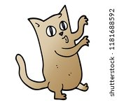 cartoon doodle dancing cat | Shutterstock . vector #1181688592