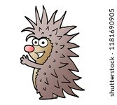 cartoon doodle spiky hedgehog | Shutterstock . vector #1181690905