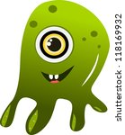 cute alien monster in green... | Shutterstock . vector #118169932